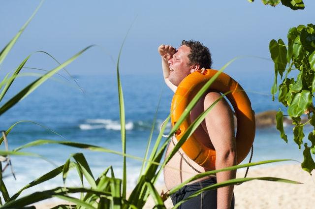 Sunburn on beach